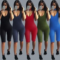 Wholesale Tight Party Jumpsuits - 2017 New Autumn Women Jumpsuit Dee V Neck Sleeveless Tight Sexy Club Party Bodysuit Women Bodycon Jumpsuits And Rompers overalls