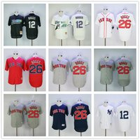 Wholesale Red Blue Ray - Wade Boggs Jersey 26# 12# Flexbase Cool Base Tampa Bay Rays Mens Yankees Boston Red Sox White Blue Red Grey