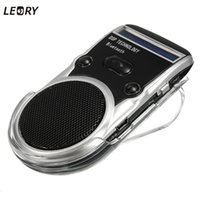 Atacado- LEORY New Arrival Solar Powered Bluetooth Handsfree Car Kit Digtal Speaker com microfone para discagem de celular
