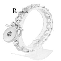 Wholesale snap button diy resale online - 10pcs Diy Bangles mm Ginger Snap Bracelet Metal Snap Button Charms Jewelry Bracelet For Women Kb3347