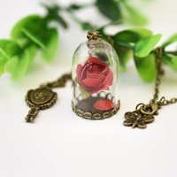 Wholesale Rose Ruby Necklace - Beauty and The Beast Necklace Rose In Terrarium Pendant His Beauty Her Beast Valentines Day Fairy Tale Victorian