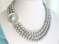 Wholesale South Sea Pearls Strands Round - triple strands AAA 8-9mm round south sea natural grey pearl necklace