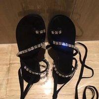 Wholesale Sandal Wood Bracelet - new Genuine leather Woman's sandals flat pinches diamond bracelet strap sandals Rome clip toe lace-up sandals student female shoes
