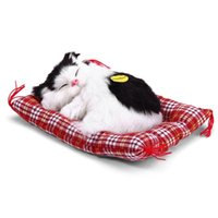 Wholesale Sleeping Cat Cute Plush - Fashion Cute Stuffed Toys Doll Plush Animal Sleeping Cats Toy With Sound Kids Christmas Halloween Gift Doll Decorations L3