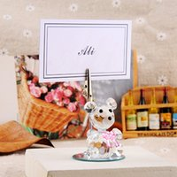 Wholesale Product Places - K9 Crystal bear place card holder with bow tie Creative wedding decoration products New arrivel DT21
