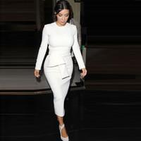 robe moulante blanche kim kardashian achat en gros de-Kim Kardashian Robe moulante blanche à manches longues col en V Maxi Dress Plus Size Party Wear DK7915QT