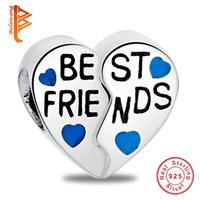 perlenteile großhandel-BELAWANG Geschenk für besten Freund 925 Sterling Silber Herz Charm Beads zwei Teile großes Loch Bead für Pandora Charm Armband DIY Schmuck Großhandel