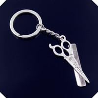 Wholesale Vintage Metal Comb - new-fashion-men-30mm-keychain-DIY-metal-holder-chain-vintage-barber-scissor-comb-stylist-24-53mm