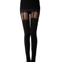 Wholesale Decorated Leggings - Wholesale- Fashion Stretchy Stockings Sexy Black Leggings Decorated Garters Retail Wholesale 61FC