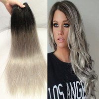 Wholesale Wholesale Gray Weaving Hair - 8A Ombre Hair Extensions Hot Brazilian Straight 3pcs lot Grey Ombre Human Hair 1B Gray Two Tone Brazilian Virgin Human Hair Extensions