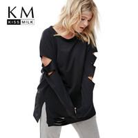 artı boyut üstleri kes toptan satış-Toptan Satış - Kissmilk Plus Size Kadınlar Casual Siyah Cut Out Sıkıntılı Uzun Kollu Ripped Büyük Boy Sweatershirt Hoodie Kıyafetler 3XL 4XL 5X