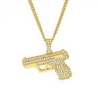 Wholesale Hand Gun Charms - Men's Gun Necklace Bling Rhinestone Crystal Charm Gold Silver Pistol Hand Gun Pendant Necklace Fashion Hip hop Jewelry