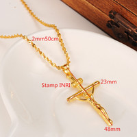 Wholesale 18k Solid Gold Cross - 14K yellow Solid gold GF STAMP INRI Jesus Cross Pendant Necklace Loyal Women Charms Crosses Jewelry Christianity Crucifix Gifts