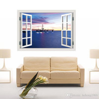 Wholesale 3d window art for wall online - Wall Stickers D Originality Scenery Wallpaper Window Mural Art PVC Decal Water Proof Creative Removable Home Decor aw J R