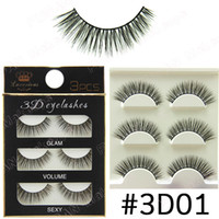 Wholesale Cheap Human Hair Lashes - 3D Stereoscopic False Eyelashes Handmade Natural Artificial fibers Hair #3D01 to #3D15 Style Wholesale Large Cheap High quality Eyelashes