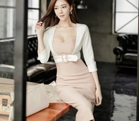 Wholesale Sexy Dress Fight - 2017 new Korean version of the sexy Slim fight seven sleeves false two pieces of temperament package hip dress