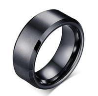 Wholesale Tungsten Black Brushed Ring - Mens Brushed Black Tungsten Ring wholesales bevel edges 8mm