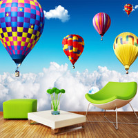 Venta al por mayor-3D Wall Mural Air Hot Balloon On The Clouds Fondos de Pantalla para Niños