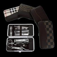 Wholesale manicure pedicure scissors - 12PCS Stainless Steel Nail Manicure Tool Kit Nail Scissors Nail Art Clipper Pedicure Scissor Tweezer Knife Ear Pick Utility Mnicure Set DHL