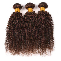 Wholesale Hair Chestnut - 8A Brazilian Kinky Curly Virgin Hair 3 Bundles #4 Light Brown Curly Human Hair Weaves 3Pcs Lot Chestnut Brown Hair Extensions