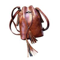 Wholesale Wholesale Hobo Messenger - Wholesale- 2016 New Fashion Women Pu Leather Shoulder Bag Ladies Retro Tassel Messenger Hobo Bag Drawstring Satchel Book Money Purse Nov22