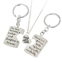 Wholesale Mother Daughter Jewelry Pendants - Wholesale-Daughter Mother Pendant Necklace 3pc set Dad Keychain Family Mother's Day & Father's Day Keyring Jewelry Father Mom Necklaces