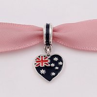 Wholesale Australian Wholesalers - 925 Silver Beads Australian Flag Heart Silver Pendant Charm Fits European Pandora Style Bracelets Necklace for jewelry making 791415ENMX