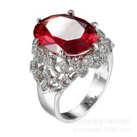 Wholesale Ruby Stone Rings - Noble Lady's Ruby Zircon White Gold Plated Engagement Wedding Ring Sz 6-10 Gift
