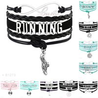 Wholesale halloween bowling - Infinity Love Running Shoes Golf Cycling Wrestling Mom Bowling Mom Weight Charms Bracelets For Women Men Jewelry Leather Wrap Bracelet