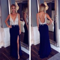 Fashion Luxury Navy Blue Lange Prom Kleider 2017Backless Wulstige Niedrige Brust Sexy Kleid Hohe Schlitz Frauen Festzug Kleid für formelle Abendgesellschaft G