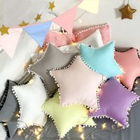 Wholesale Kids Decorative Pillows - 2017 Kids Star Pillow Baby Soft Cotton Stuffed Toys Dolls Children Birthday Gifts Sofa Throw Pillows Decorative Bed Back Cushions Home Decor