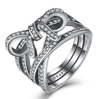 ingrosso dita di stringa-BELAWANG Design unico imita String Ring Nodo Anello di dito femminile 925 Sterling Silver Sentimenti delicati Anello per le donne Gioielli anniversario