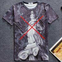 Wholesale Goddess Shirt - Marble pillar T shirt X mark goddess short sleeve gown Anti pilling tees Leisure printing clothing Quality cotton Tshirt