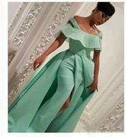 abendkleider minze meerjungfrau großhandel-African Mint Green Prom Dresses aus der Schulter Perlen Mantel Abendkleider Abendkleid Satin Arabisch besonderen Anlass Kleid Vestidos