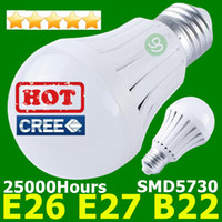 Wholesale E27 Smd 9w - LED Bulbs B22 E27 Globe Light Bulb 110V 220V 7W 9W 12W Super Bright CREE LED Lamp Wholesale FREE SHIPPING