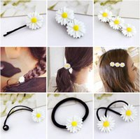 Wholesale Hair Rubber Small - Summer small fresh daisy flower hairpin Korean version of the new hair accessories wholesale double hair circle circle rope jewelry
