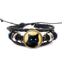 brazaletes de gato al por mayor-Nuevo 5 unids hombres joyería de cuero con vidrio Cabochon Cat patrón encanto Lether Mutilayer Wrap pulsera brazalete para regalo Unisex