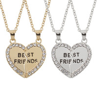 Wholesale 18k Gold Best Friends Pendant - Gold Silver Two Tones Available BFF Best Friend 2 Pieces Heart Split Puzzle Pendant Necklace For Friend Gift With Rhinestones