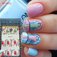 15*3cm owl nail decals - BORN PRETTY BP W02 Cute Owl Nail Art Water Decals Transfer Stickers W02