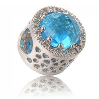Wholesale Stone Pandora - 2017 new design Fashion Silver Beads 9 Color Big Hole columniform Charms with Zirconia Stone Fit Pandora Original Bracelet