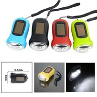 Wholesale 3led Mini Flashlight - Newest Mini Solar Power 3LED Flashlight Hand Crank Dynamo Camping lights Holiday Lights Christmas Xmas gift