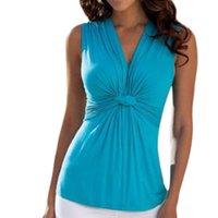 sexy baumwoll-chemise großhandel-Neue 2016 Mode Frauen Damen Sommer Sexy V-ausschnitt Knickweste Sleeveless Blusen Tops chemise femme Casual Baumwolle blusas Hemd Z2