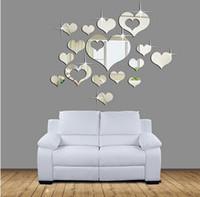 sticker mural tableau noir achat en gros de-Belle 16 PCS Argent Coeurs Miroir Décoration Home Room Art 3D DIY Stickers Muraux