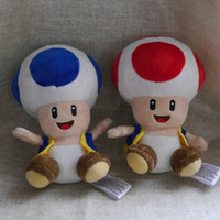 "Wholesale Mario Puppets - NEW game plush doll Super mario Friends Bros. Toad Blue Red Style 6"" 15cm stuffed doll plush toy"
