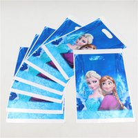 Wholesale Recycled Hand Bags - Wholesale-Wholesale Snow princess theme printing plastic hand length handle bag loot  lolly bags shopping gift bag 30pcs lot P84