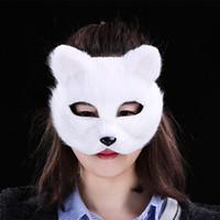 mascara bricolaje para fiesta de disfraces al por mayor-Moda Halloween Vizard Máscara de pelo corto Sexy Fox Masks DIY Masquerade Costume Costume Party Cosplay Accesorio cinco colores 6 8yt B R