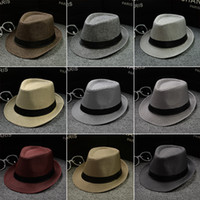 Wholesale black grey fedora hats - Vogue Men Women Cotton Linen Straw Hats Soft Fedora Panama Hats Outdoor Stingy Brim Caps 28 Colors Choose