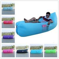 Wholesale Shapes Sleeping Bags - 260*70 cm Inflatable Lazy Bag Banana Shape Lazy Lounger Nylon Laybag Air Sleeping Bag Camping Portable Beach Bed With Bag