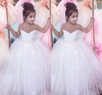 Wholesale wedding dresses waist sash for sale - 2017 White Lovely Flower Girl Dresses Sweetheart Tiered Tulle Waist Beaded Birthday First Communion Birthday Wedding Party Princess Gowns