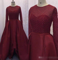 Wholesale Luxurious Taffeta Line - Burgundy Luxurious Arabic 2017 Evening Dresses Crew Long Sleeves Beaded A-line Taffeta Prom Dresses Sexy Charming Formal Party Gowns